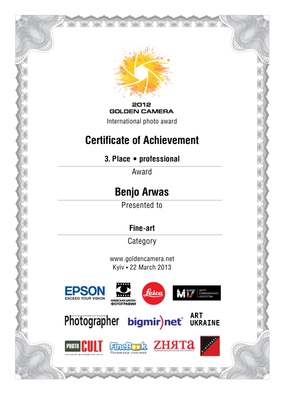 Golden Camera Award 2012 - Certificate