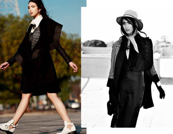 left – Romper: sen couture, Top & skirt: American apparel, Coat: Skin Graft, Shoes & earrings: TopShop / right – Top: TopShop, Coat & skirt: Anthony Franco, Gloves: Galeana Designs, Cuff: Charles Albert, Hat: American Apparel