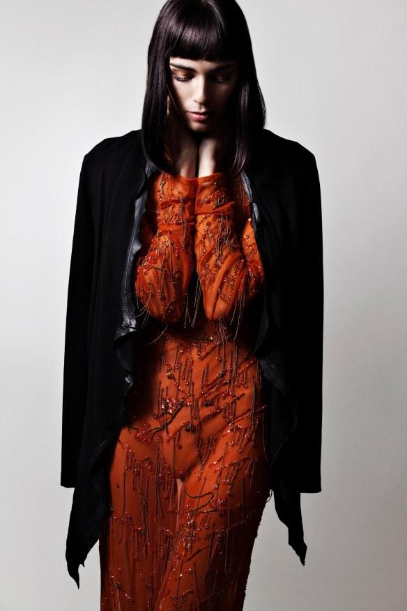 Lloyd Klein orange dress Black blazer by house of eleven Devon Leigh black bracelet Devon Leigh gold ring Ellie – black shoes