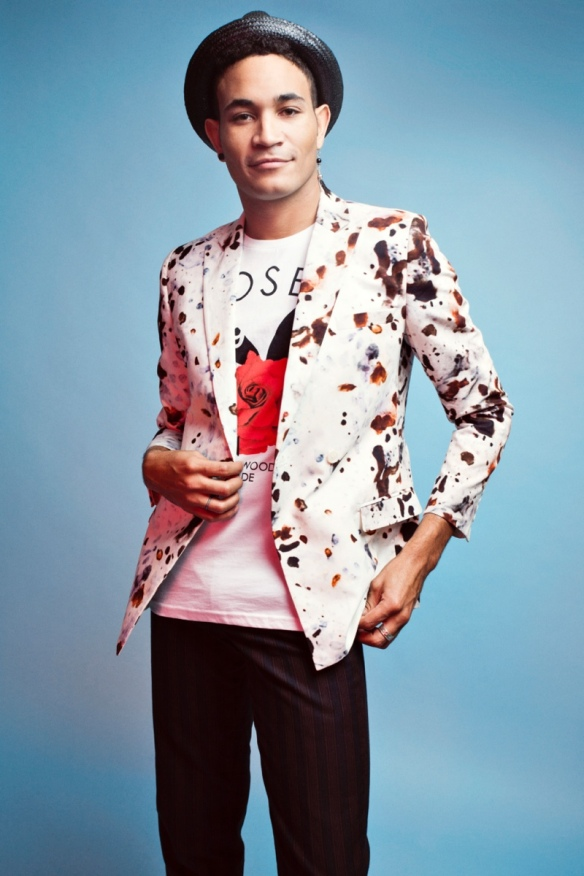 Bryce wears blazer Topman, graphic t-shirt Joyrich from Halfman and pants American Apparel.